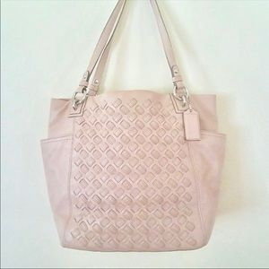 Blush pink coach tote bag